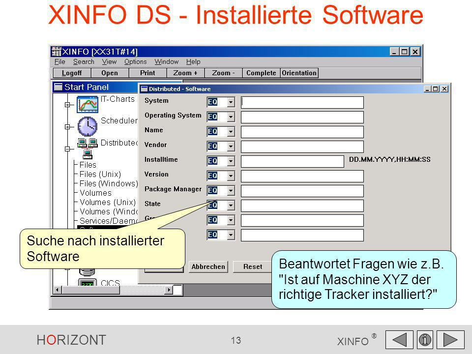 XINFO DS - Installierte Software