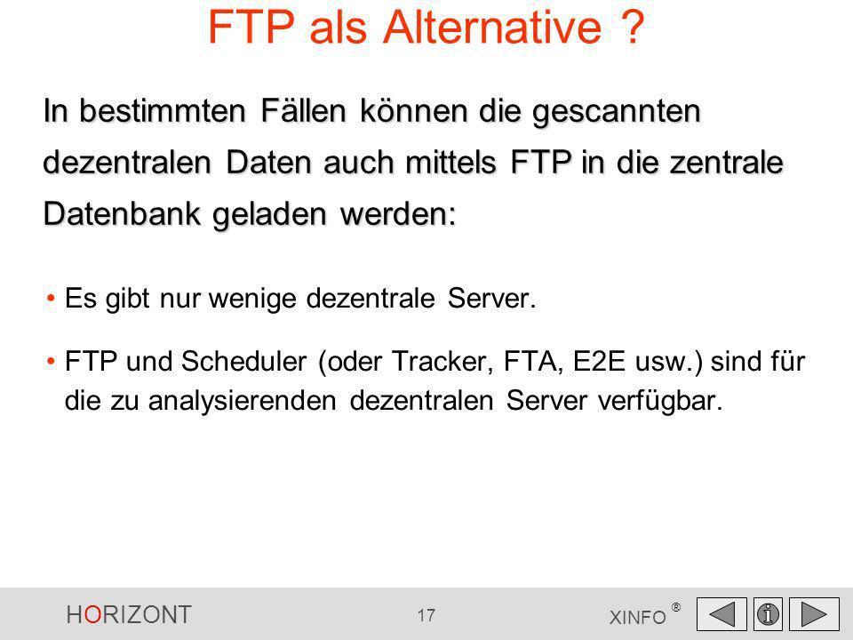 FTP als Alternative In bestimmten Fällen können die gescannten dezentralen Daten auch mittels FTP in die zentrale Datenbank geladen werden: