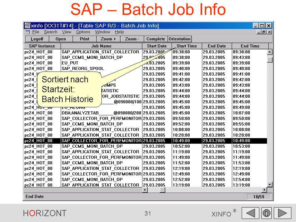 SAP – Batch Job Info Sortiert nach Startzeit: Batch Historie