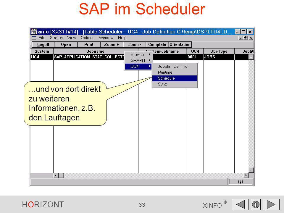 SAP im Scheduler ...und von dort direkt zu weiteren Informationen, z.B. den Lauftagen