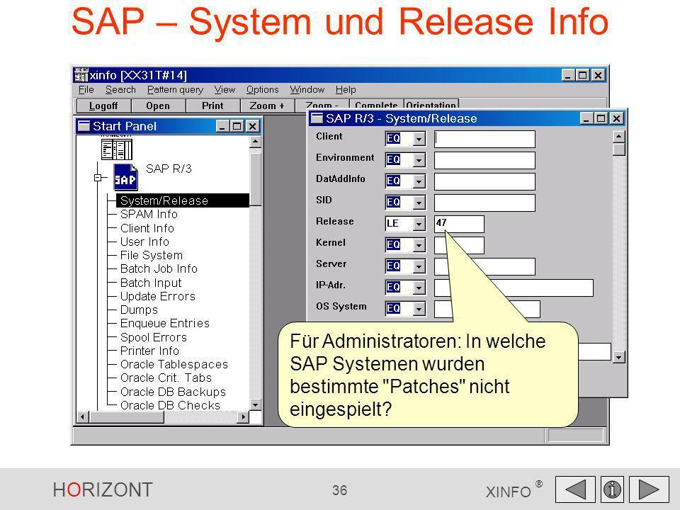 SAP – System und Release Info