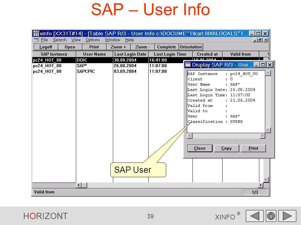 SAP – User Info SAP User