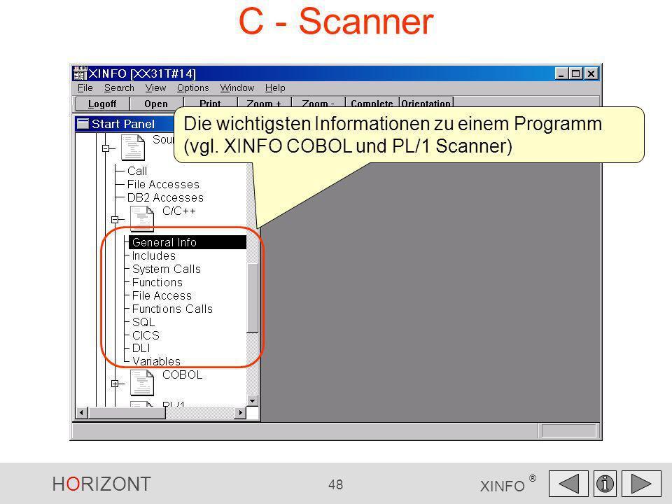 C - Scanner Die wichtigsten Informationen zu einem Programm (vgl. XINFO COBOL und PL/1 Scanner)