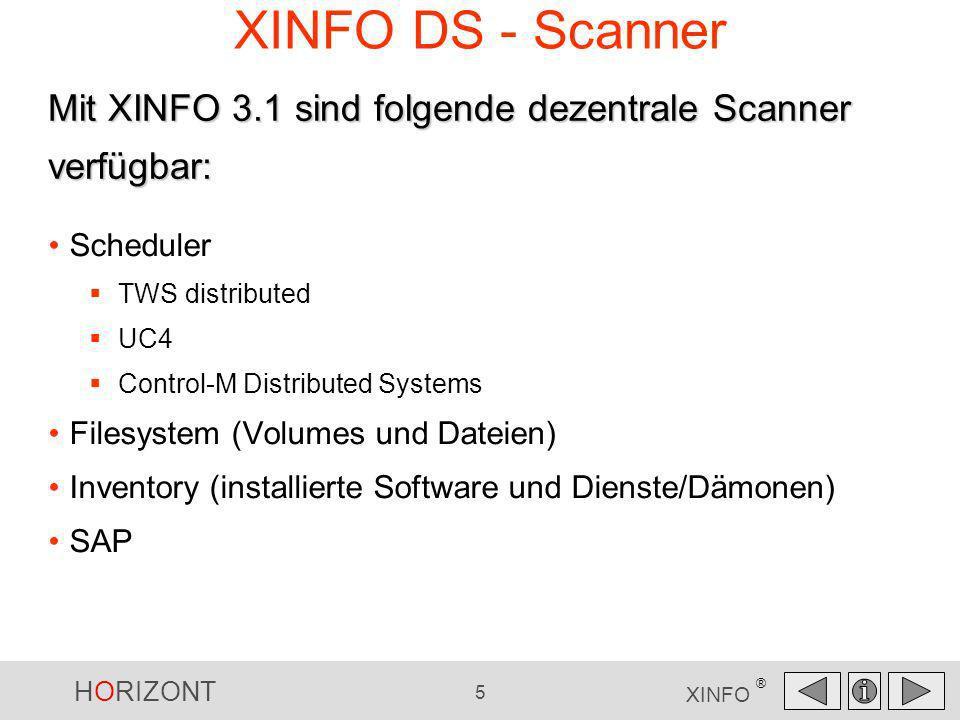 XINFO DS - ScannerMit XINFO 3.1 sind folgende dezentrale Scanner verfügbar: Scheduler. TWS distributed.