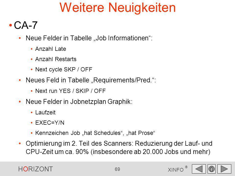 """Weitere Neuigkeiten CA-7 Neue Felder in Tabelle """"Job Informationen :"""