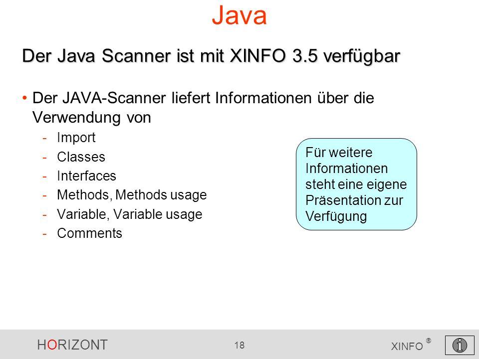 Java Der Java Scanner ist mit XINFO 3.5 verfügbar