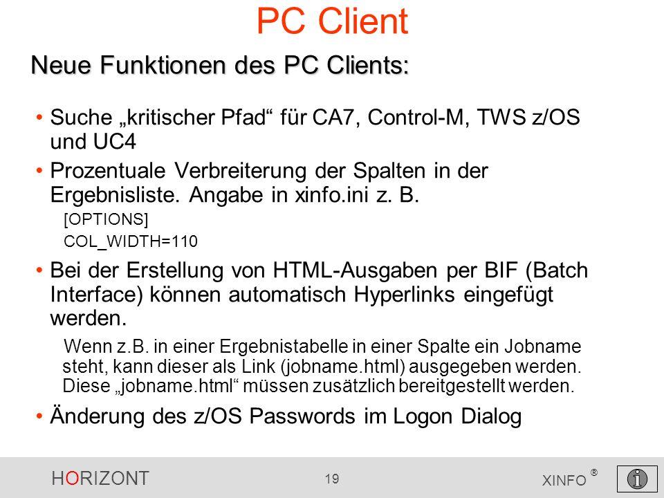PC Client Neue Funktionen des PC Clients: