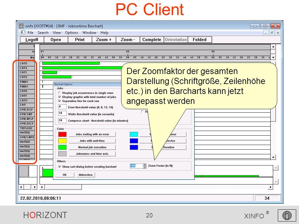 PC Client Der Zoomfaktor der gesamten Darstellung (Schriftgröße, Zeilenhöhe etc.) in den Barcharts kann jetzt angepasst werden.