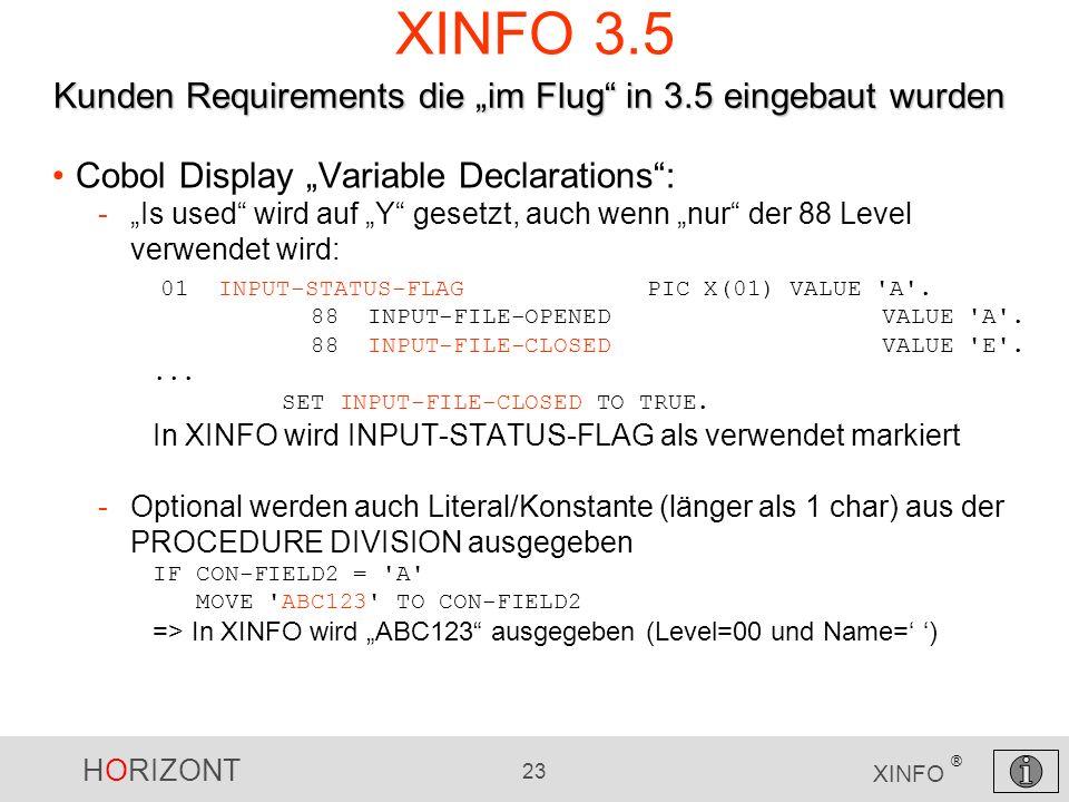 """XINFO 3.5 Kunden Requirements die """"im Flug in 3.5 eingebaut wurden"""