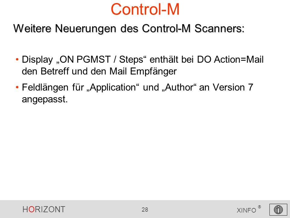 Control-M Weitere Neuerungen des Control-M Scanners: