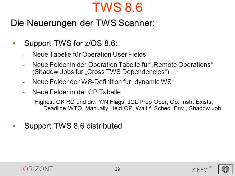 TWS 8.6 Die Neuerungen der TWS Scanner: Support TWS for z/OS 8.6: