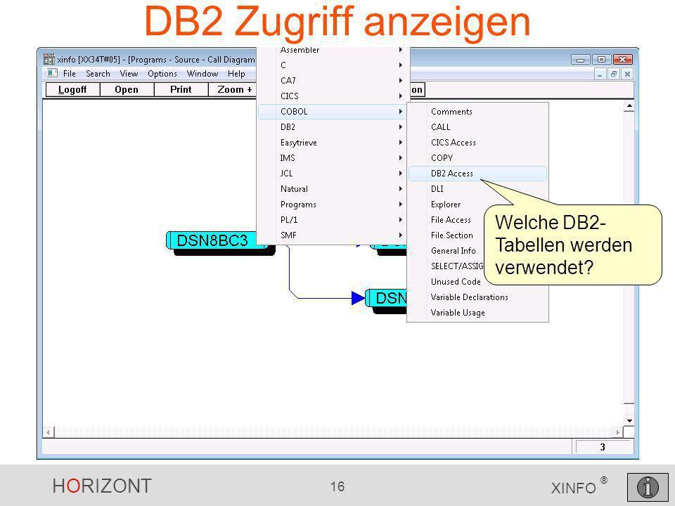 DB2 Zugriff anzeigen Welche DB2-Tabellen werden verwendet