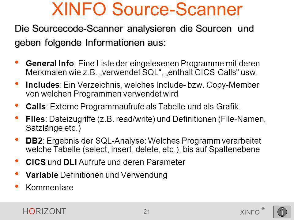 XINFO Source-Scanner Die Sourcecode-Scanner analysieren die Sourcen und geben folgende Informationen aus: