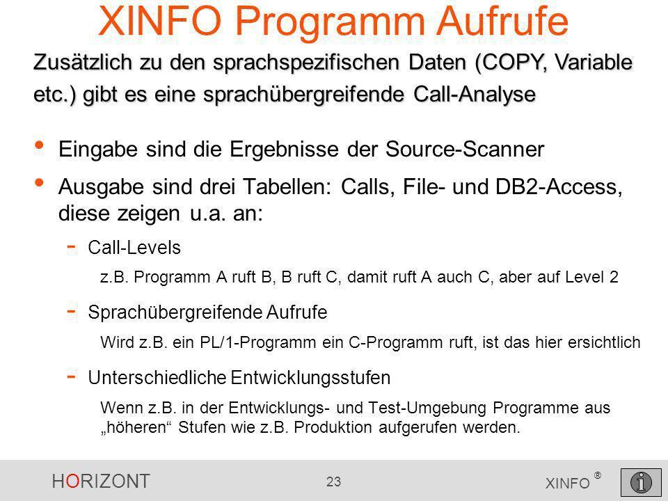 XINFO Programm Aufrufe