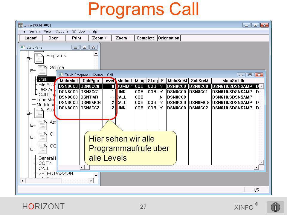 Programs Call Hier sehen wir alle Programmaufrufe über alle Levels