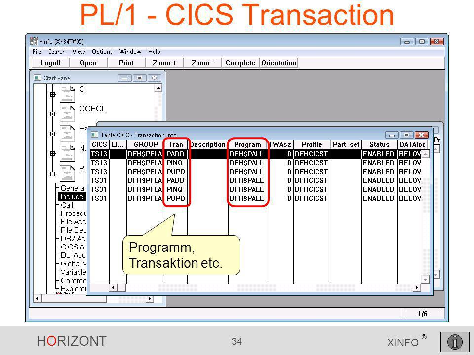 PL/1 - CICS Transaction Programm, Transaktion etc.