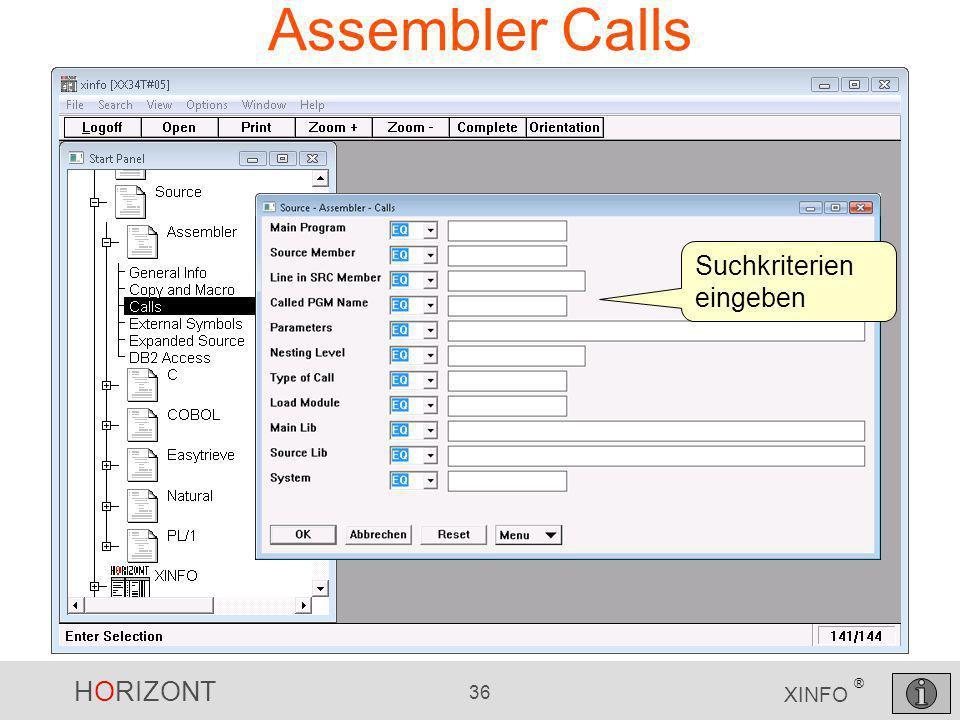 Assembler Calls Suchkriterien eingeben