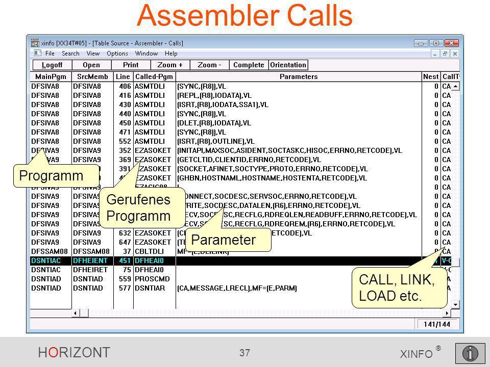 Assembler Calls Programm Gerufenes Programm Parameter