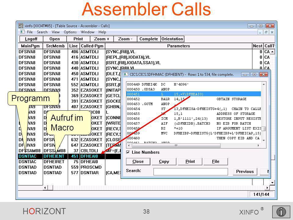 Assembler Calls Programm Aufruf im Macro