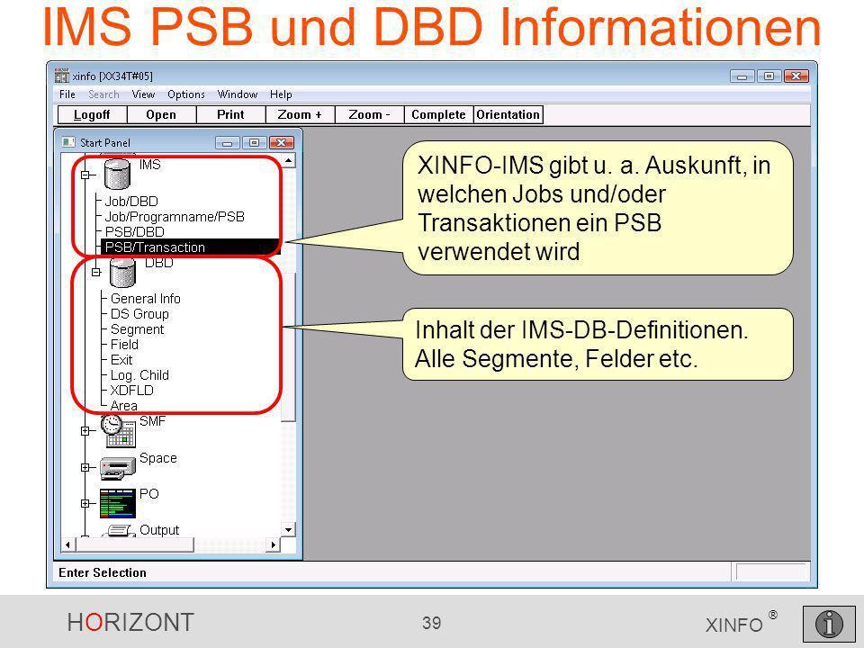 IMS PSB und DBD Informationen