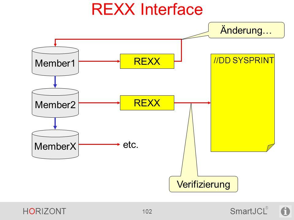REXX Interface Änderung… Member1 REXX Member2 REXX MemberX etc.