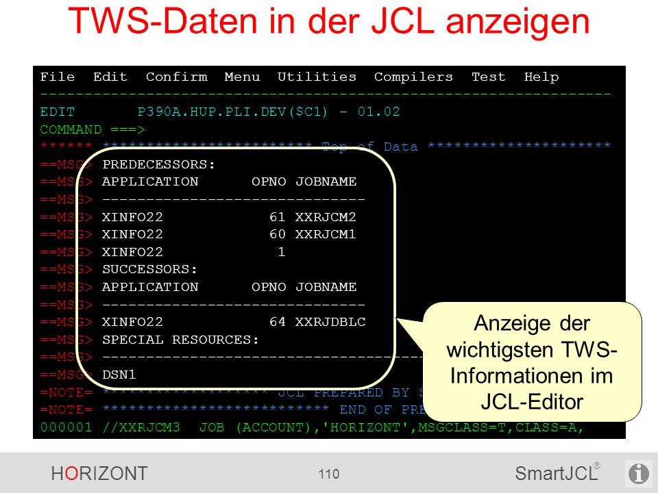 TWS-Daten in der JCL anzeigen