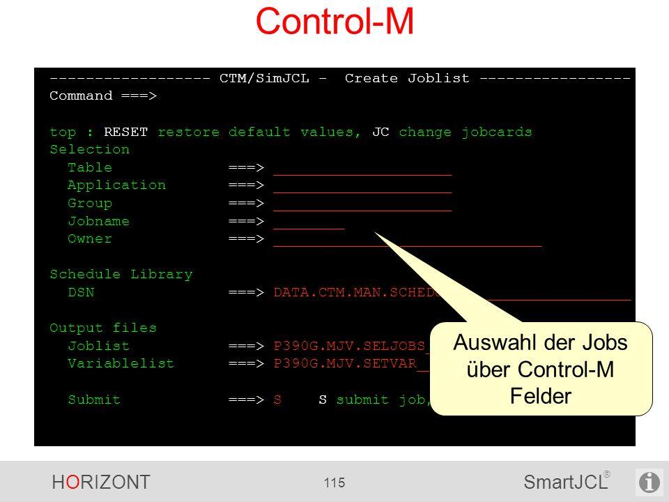 Auswahl der Jobs über Control-M Felder