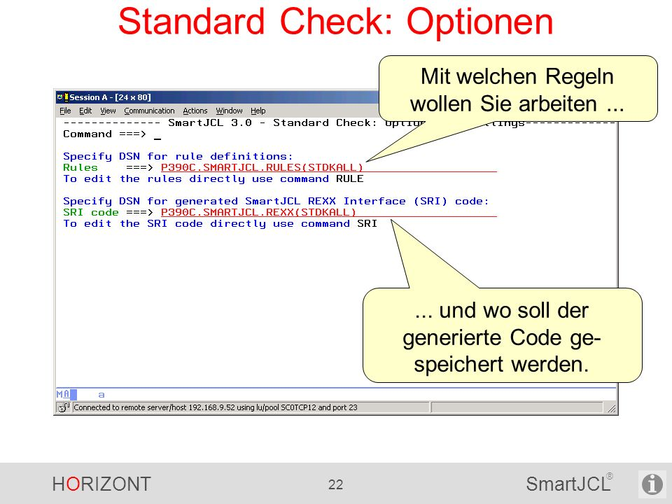 Standard Check: Optionen