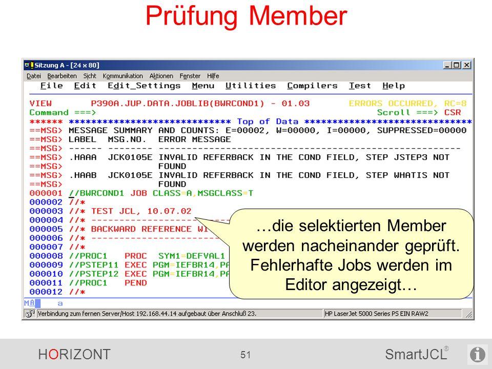 Prüfung Member …die selektierten Member werden nacheinander geprüft.