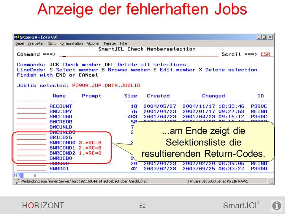 Anzeige der fehlerhaften Jobs