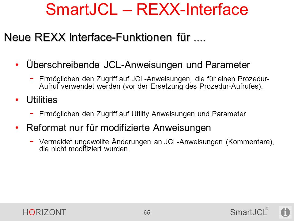 SmartJCL – REXX-Interface