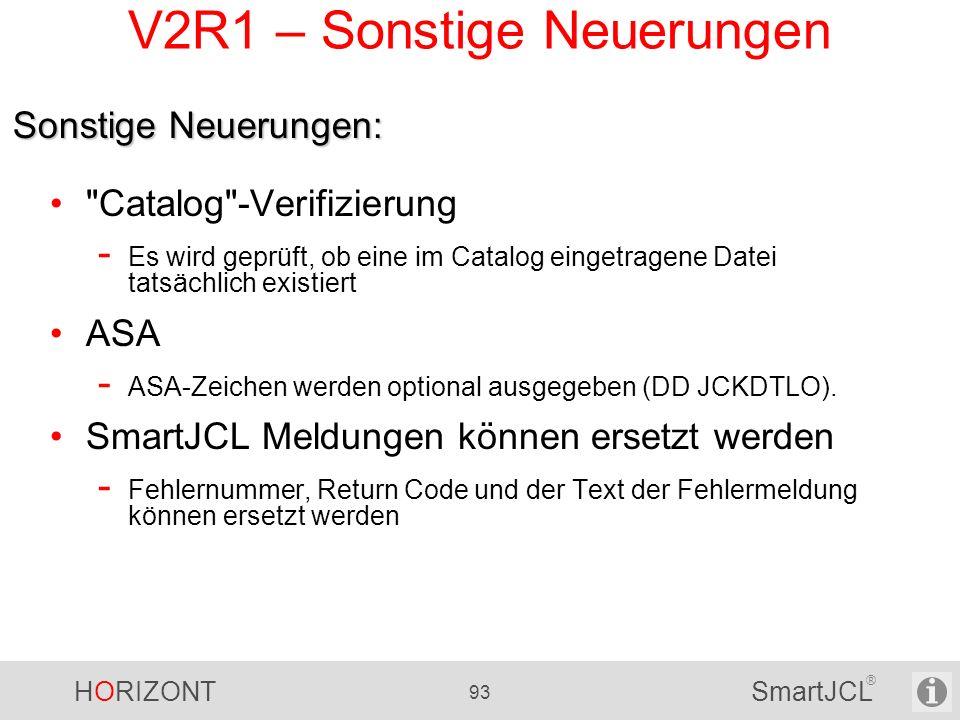 V2R1 – Sonstige Neuerungen