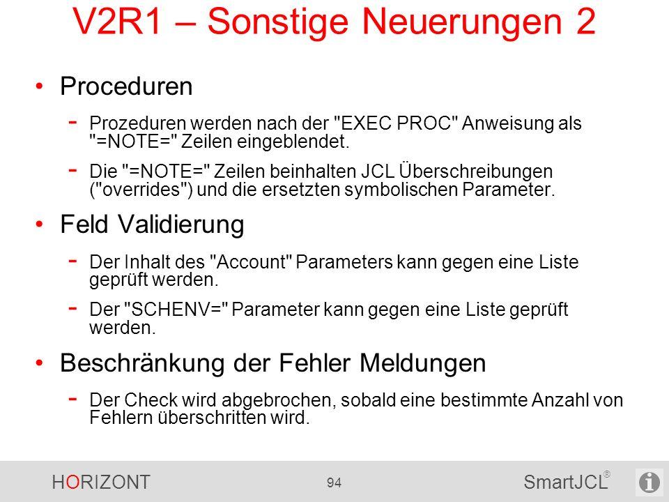 V2R1 – Sonstige Neuerungen 2