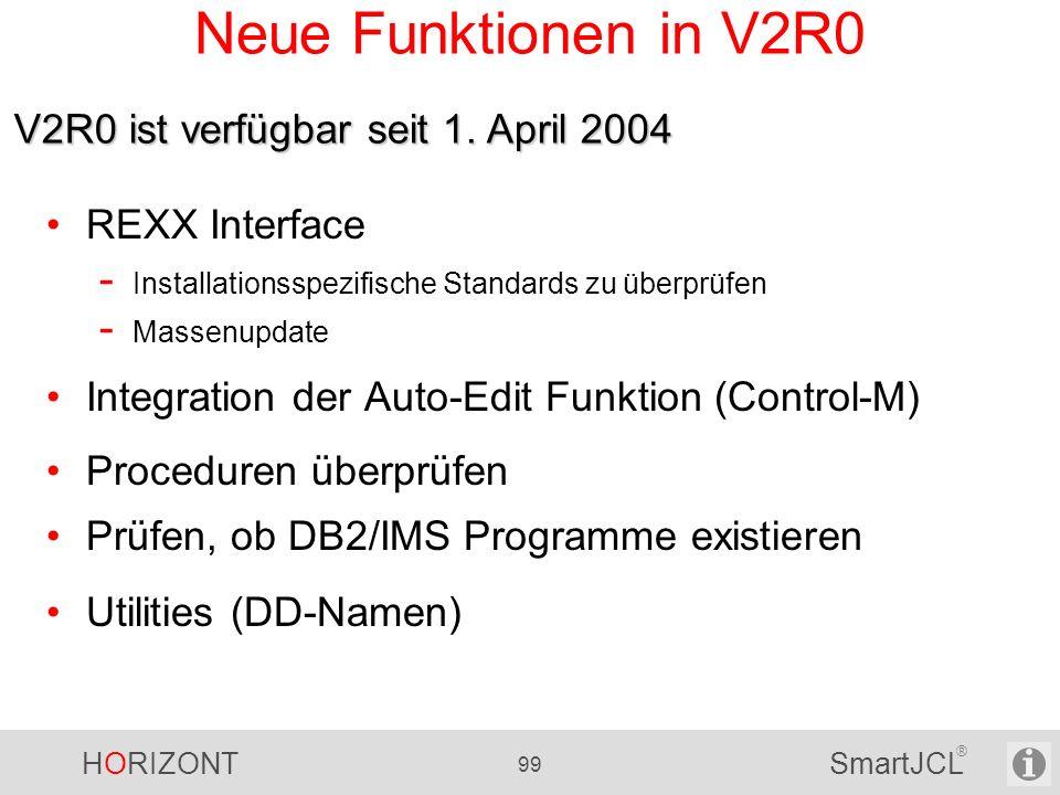 Neue Funktionen in V2R0 V2R0 ist verfügbar seit 1. April 2004