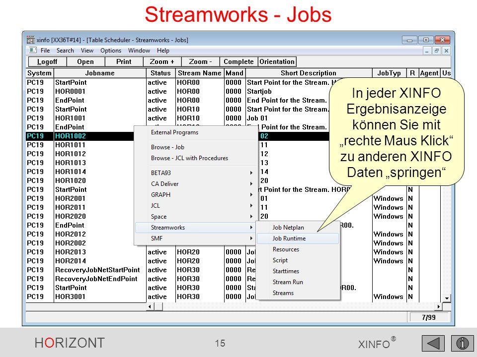 """Streamworks - Jobs In jeder XINFO Ergebnisanzeige können Sie mit """"rechte Maus Klick zu anderen XINFO Daten """"springen"""