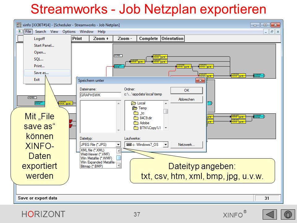 Streamworks - Job Netzplan exportieren