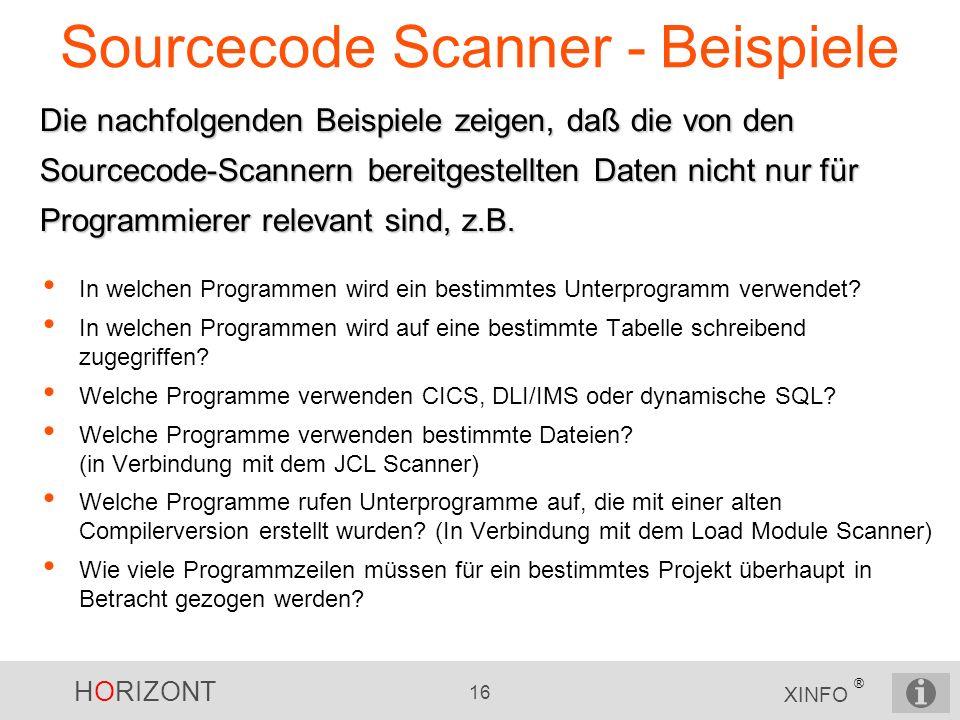 Sourcecode Scanner - Beispiele
