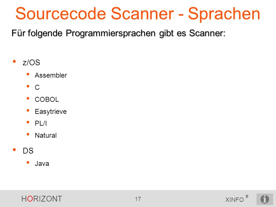 Sourcecode Scanner - Sprachen