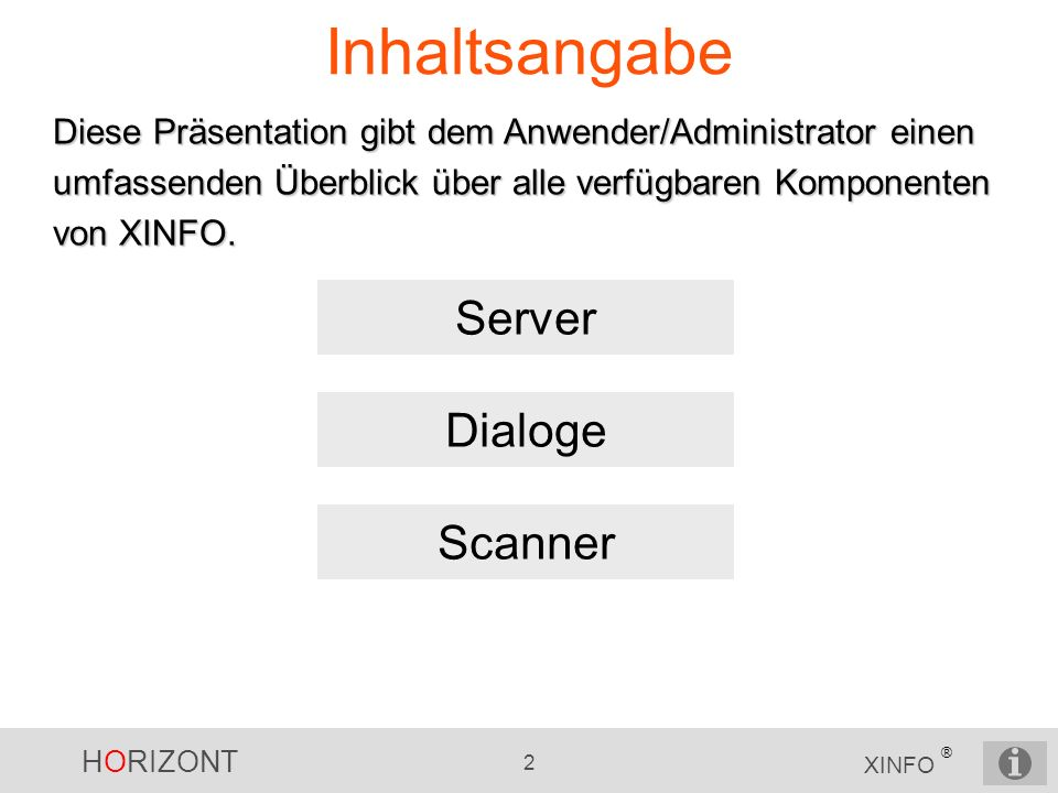 Inhaltsangabe Server Dialoge Scanner