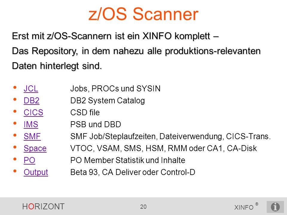 z/OS Scanner Erst mit z/OS-Scannern ist ein XINFO komplett – Das Repository, in dem nahezu alle produktions-relevanten Daten hinterlegt sind.