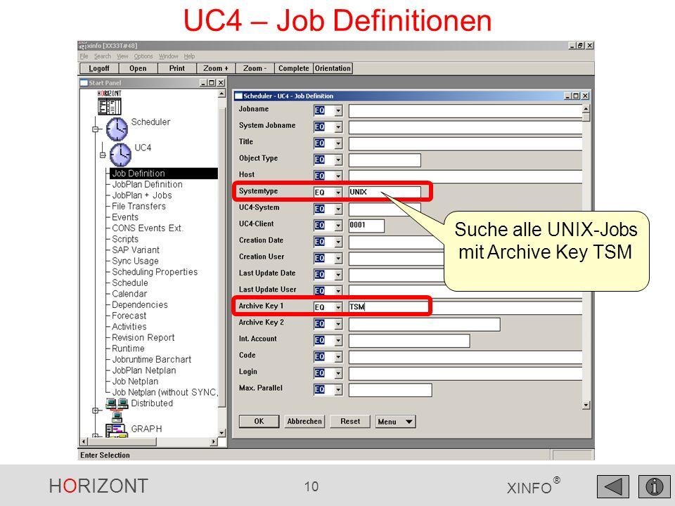 Suche alle UNIX-Jobs mit Archive Key TSM
