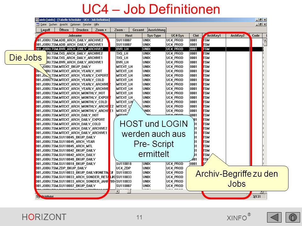 UC4 – Job Definitionen Die Jobs