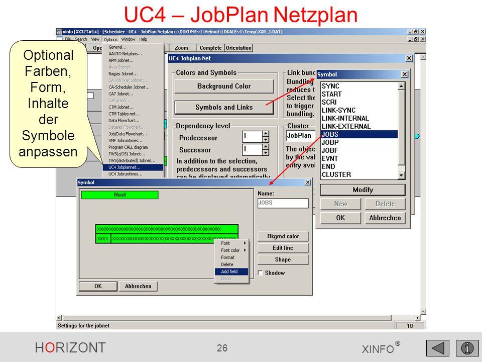 UC4 – JobPlan Netzplan Optional Farben, Form, Inhalte der Symbole