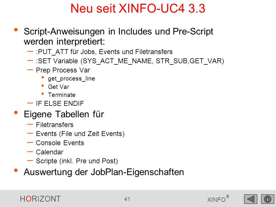 Neu seit XINFO-UC4 3.3 Script-Anweisungen in Includes und Pre-Script werden interpretiert: :PUT_ATT für Jobs, Events und Filetransfers.