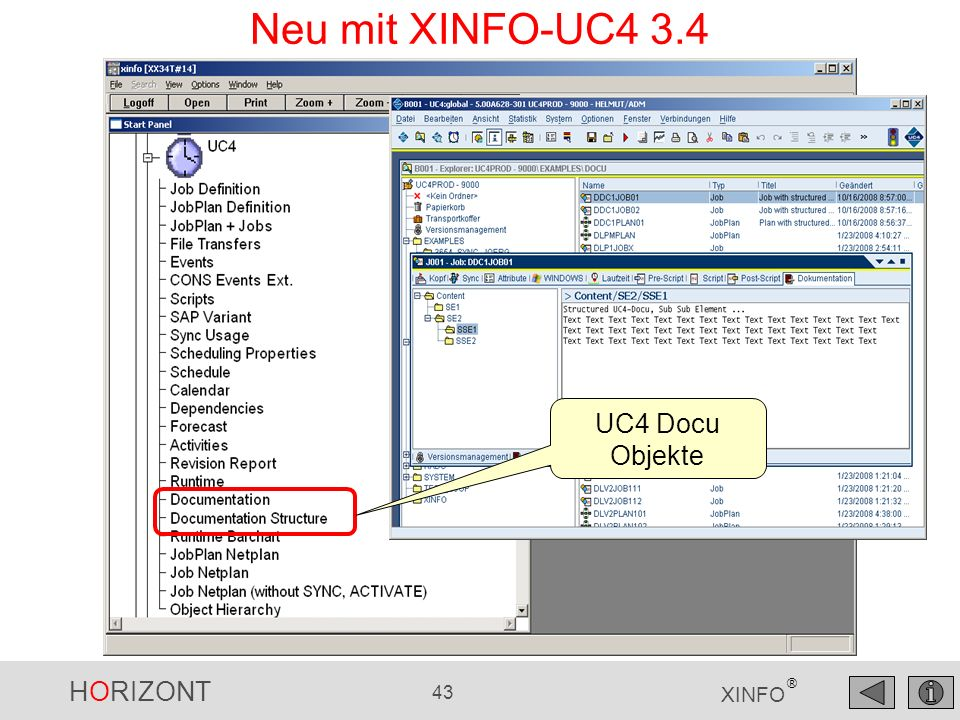 Neu mit XINFO-UC4 3.4 UC4 Docu Objekte
