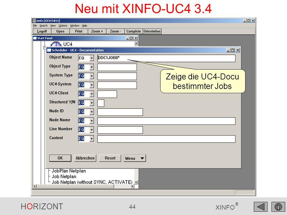 Zeige die UC4-Docu bestimmter Jobs