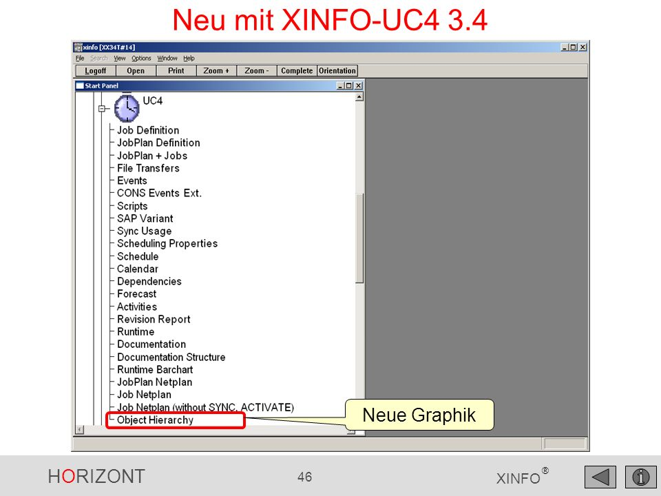 Neu mit XINFO-UC4 3.4 Neue Graphik