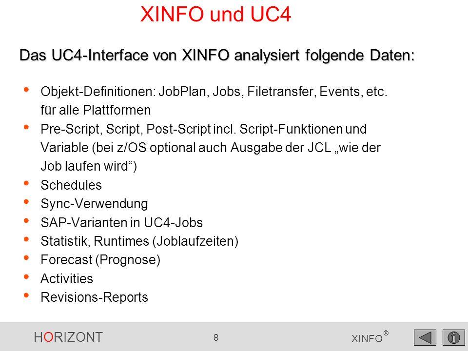 XINFO und UC4 Das UC4-Interface von XINFO analysiert folgende Daten: