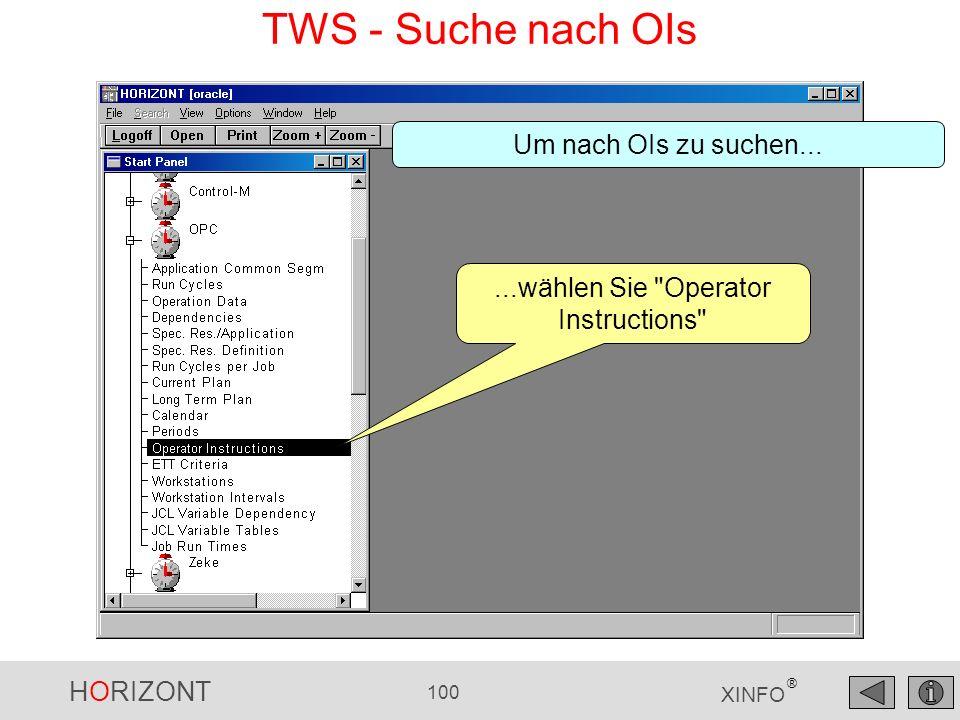 ...wählen Sie Operator Instructions