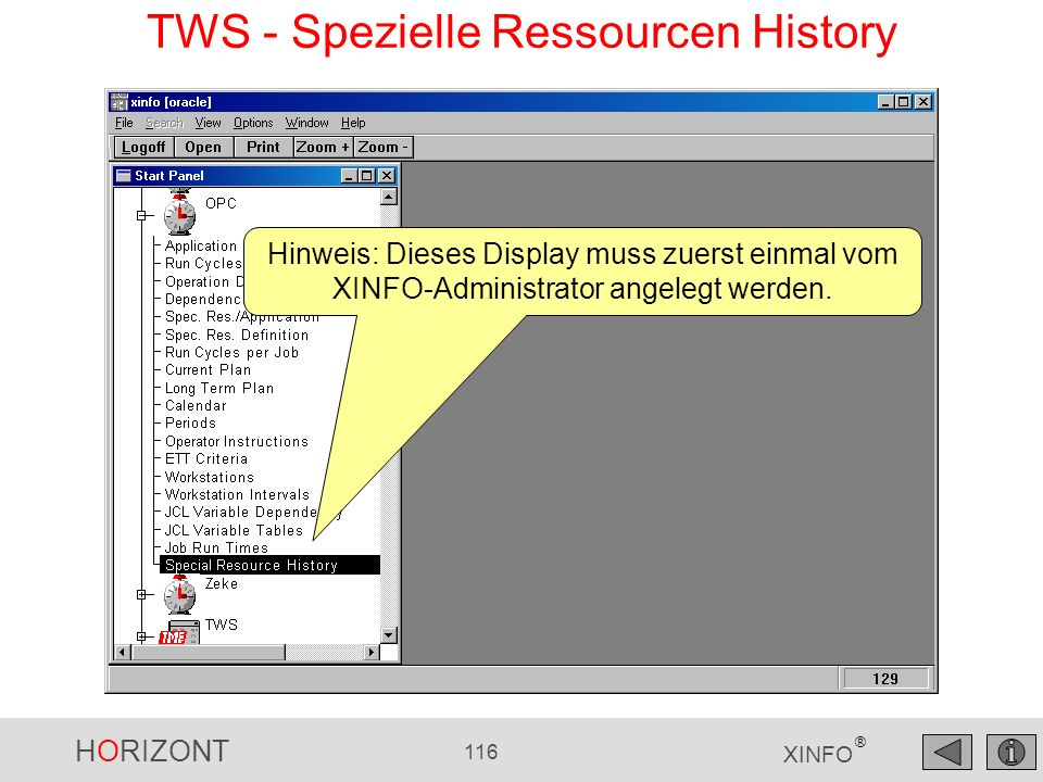 TWS - Spezielle Ressourcen History